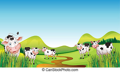 Group of cows - Illustration of a group of cows in a...