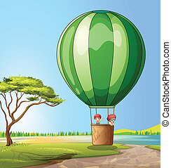 Hot air balloon - Illustration of a hot air balloon with two...