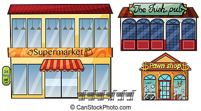 Supermarket, pub and pawnshop - Illustration of a...