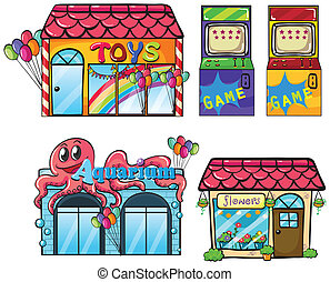 Different Stores - Illustration of a different stores on a...