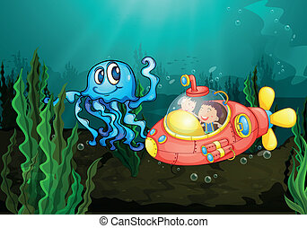 Exploring under the sea - Illustration of kids exploring...