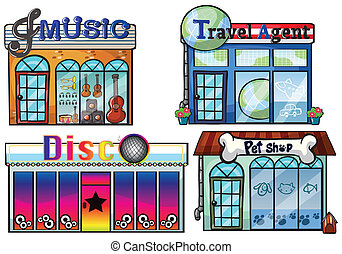 Illustration of a musical store, travel agent office, disco...