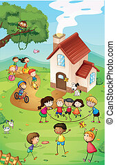 Playground with kids - Illustration of a playground with so...