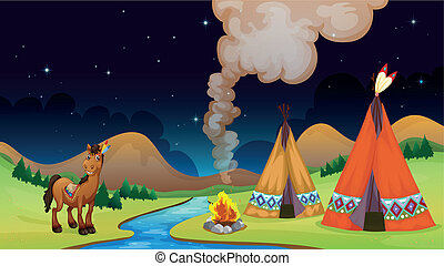 Overnight Camp - Illustration of an overnight camp near the...