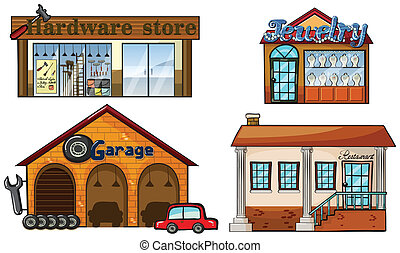 Big Stores - Illustration of different big stores on a white...