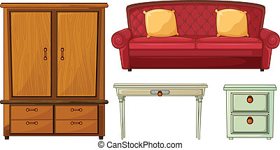 Useful Furnitures - Illustration of useful furnitures on a...
