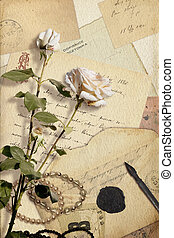 Vintage collage with rose