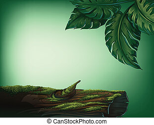 A trunk covered with algae - Illustration of a trunk covered...