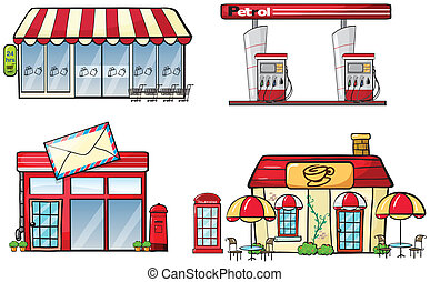 Business establishments - Illustration of different business...