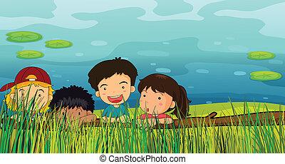 Children peeking