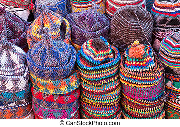 wool caps - background of colorful wool caps for sale in the...