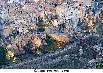 cuenca - famous buildings in cuenca, from the sky