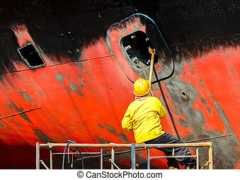 shipyard worker to clean ship