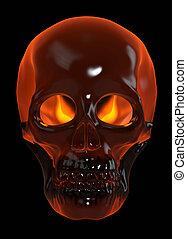 Fire Skull - Human skull on black