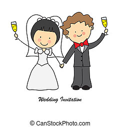 wedding invitation. Newlyweds toasting with a glass of...