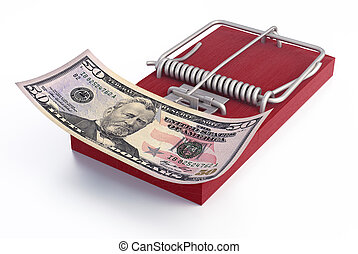 Mousetrap with Money - Red mousetrap with money. Money...