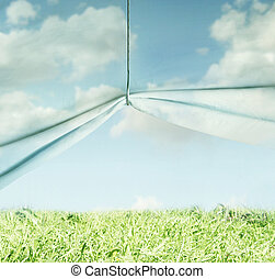 Surreal sky and grass - Artistic surreal background...