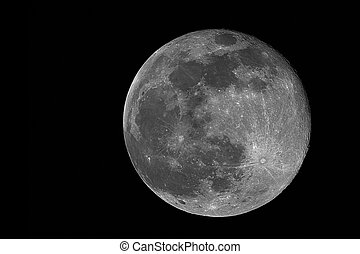 full moon - real image of the full moon taken with telescope
