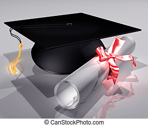 Mortar Board and Diploma - Illustration of a mortar board...
