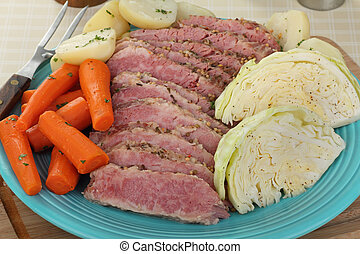 Corned Beef Meal - Sliced corned beef brisket with cabbage,...
