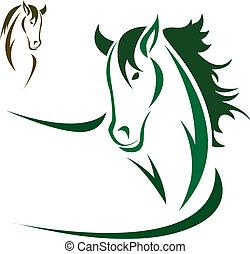 vector, cabeza, caballo