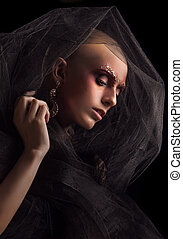Baldhead woman - Model with a fake bald on black background