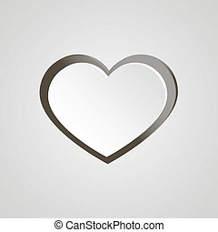 White heart with grey stroke