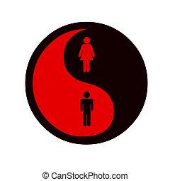 equality of woman and man - yin and yang symbol on equality...