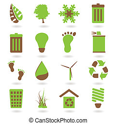 eco icon two tone - Collection of two tone eco green icons...