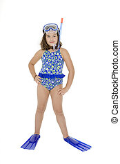 Child - Caucasian child posing in a swimsuit standing on...