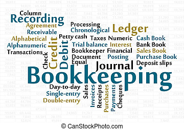 Bookkeeping word cloud with data sheet background