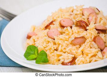 arroz, embutido