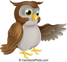 Pointing Cartoon Owl - An illustration of a cute cartoon owl...