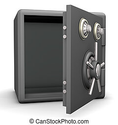 Opened Safe - Opened grey safe on the white background