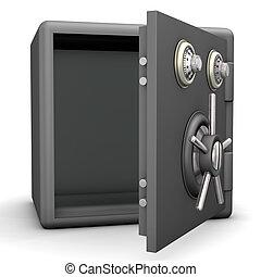Opened Safe - Opened grey safe on the white background.