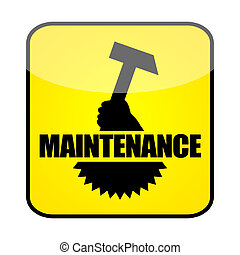 Maintenance sign with hammer and gearwheel isolated on white...