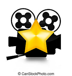 Movie Star - Retro film camera and golden star illustration...