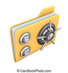 Safe File - Safety yellow file on the white background