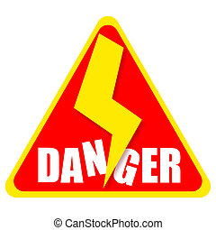 Danger sign with thunderbolt isolated on white background