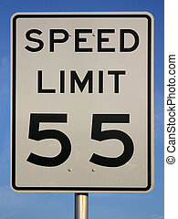 Speed Limit 55 Sign - White sign with speed limit 45 printed...