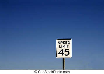 "Speed Limit 45 Sign - White sign with \""speed limit 45\\\""..."
