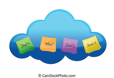 Cloud computing files concept illustration graphic design