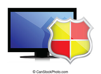 Shield protects Computer Monitor illustration design over...