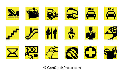 service icon set black and yellow