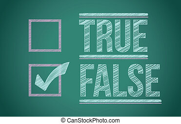 True and false check box written on a blackboard