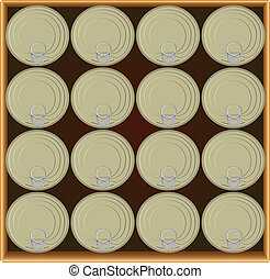 Box of canned food - A drawer full canned goods. Vector...