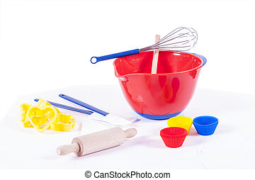 Childrens cooking set - A childrens cooking set with...