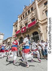 Ball de Bastons at Festa Major in Sitges, Spain - SITGES,...
