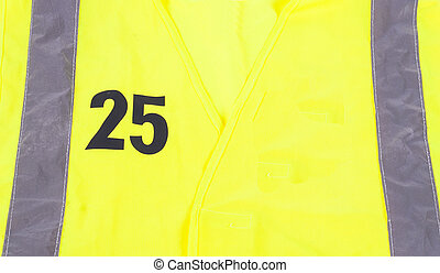 Saftey Jacket with number 25 - A yellow saftey jacket with...