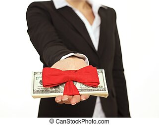 Person Giving a Generous Bonus - Businessperson giving...
